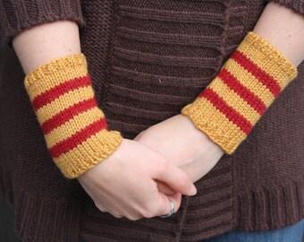 yellow & red striped wristwarmers