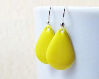 Dangle Drop Earrings - Lemon Yellow Epoxy Enamel Teardrops - Sterling Silver Plated over Brass (F-5)