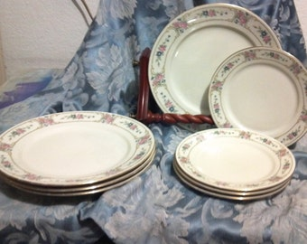 Dinner and Salad Plates plates in Primrose by Haviland Bavaria Germany Porcelain floral pink white restaurant home dishes