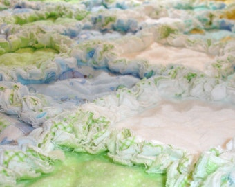 Baby Boy Rag Quilt Blanket Throw - Blue, Green, Yellow - Flannel - Ducks, Bunnies, Owls