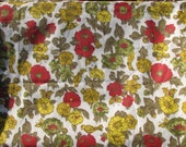 Vintage Floral Cotton Fabric - FLowers and Birds - Lightweight - Yellow, Green and Red