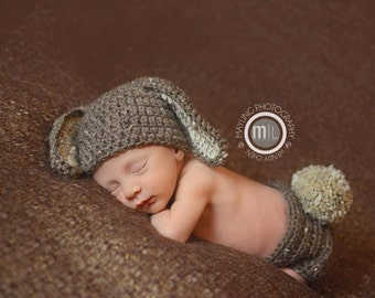 READY TO SHIP Newborn Bunny Hat with Diaper Cover Outfit - Photo Props, Photography Props, Easter ( available in different color )