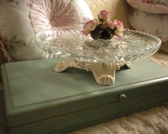 Upcycled Cut Glass and Metal Cake Plate,Shabby Chic, French, French Country,Cottage, Cottage Chic,Eclectic