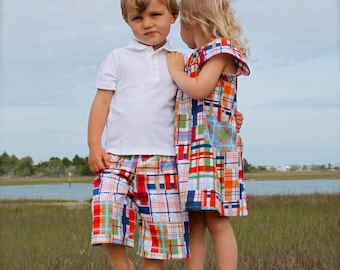 BROTHER SISTER SET girl's flutter sleeve dress with matching boys shorts in Michael Miller's Madras Plaid...perfect for Easter!