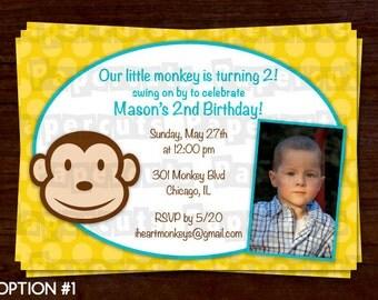 Monkey Boy Theme Birthday Party Invitation | Yellow & Teal | Personalized | Printable DIY Digital File