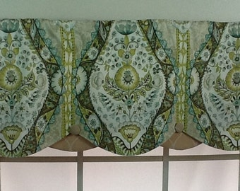 French country petticoat valance with buttons in blue, green and yellow