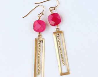 Pink Art Deco Earrings, Chalcedony, Brass, Long Statement Earrings, Gold Chain, Fucshia