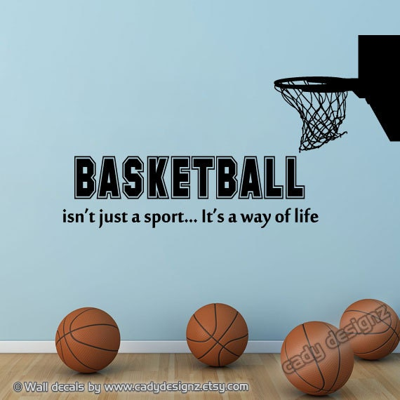 basketball wall decal with hoop sports room by studio378decals