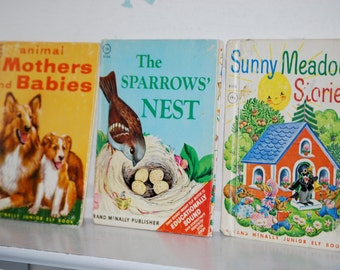 Vintage Children's Books, Sunny Meadow Stories, Animal Mothers and Babies, The Sparrows' Nest