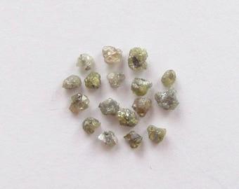 Natural Rough Yellowish and Grayish Diamond, Unheated, Uncut, Lot (17) of 1.23 carat
