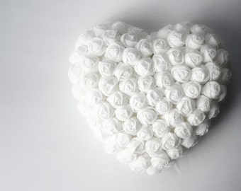 I love you Fabric heart flowers Total white Hanging home ornament handmade