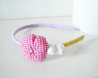 Headband with fabric flower and rosettes Yellow lilac pink Satin ribbon covered - ready to ship