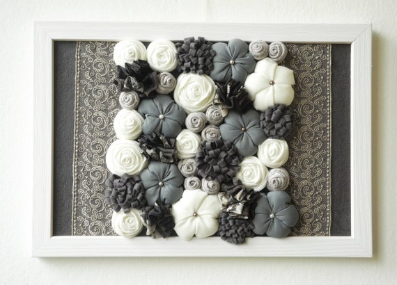 Fabric Wall Art Of Framed Fabric Flower Wall Art 3d Design Home Decor Gray