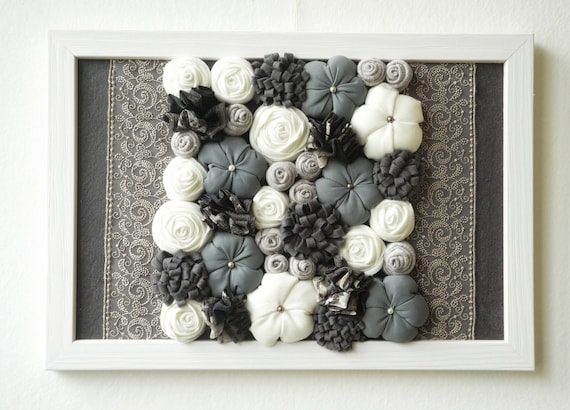 Framed fabric flower wall art 3d design home decor gray for Fabric wall art