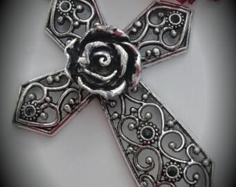 Huge Genuine Silver Plated Swarovski Crystal Cross Pendant in Morion