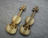 "Two  1 7/8"" x 5/8"" wood buttons - Violin"