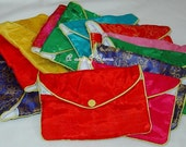 100% Silk Jewelry Pouch Bag with Zipper 2 Open Compartment and Snap Closure -12 PCS ( 1 Dozen)