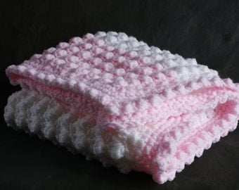 Pink and white handmade extra thickness crochet baby blanket/shawl. Ideal Christening / shower /new baby gift.