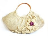 Valentines Day SALE - Free shipping- Fashionable Swollen Knitting Satchel Bag- Beige and decorated with flowers- OOAK