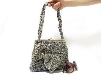 Handmade crochet purse, yellow dark blue crochet tote bag, crochet handbag, bow handbag, Useful Stylish handbag