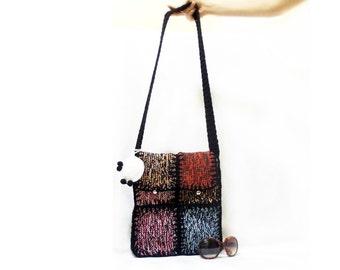 Shoulder bag, Messenger bag, Free Shipping, Teenage bag, Knit bag, Multicolor, Colorful, Tablet bag, Square pattern, Ipad bag, School bag
