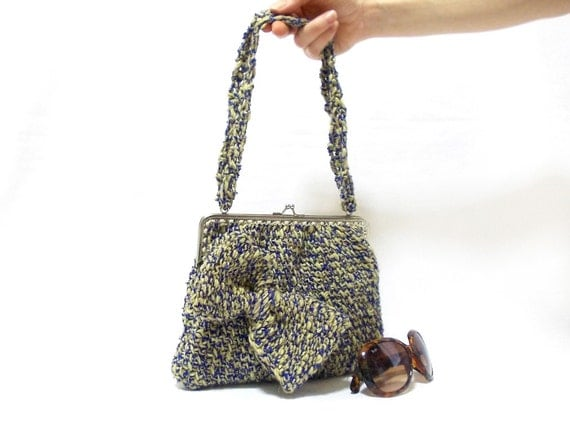 Handmade Crochet Handbags : Handmade crochet purse, yellow dark blue crochet tote bag, crochet ...