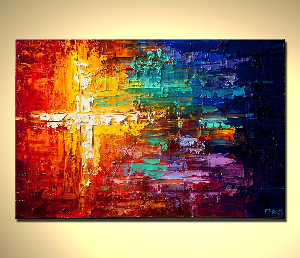 Original abstract painting contemporary colorful art textured for Abstract mural paintings