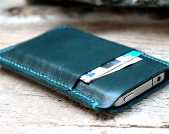 One side mini teal leather iphone case