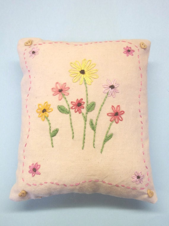 Hand Embroidered Floral Mini Pillow