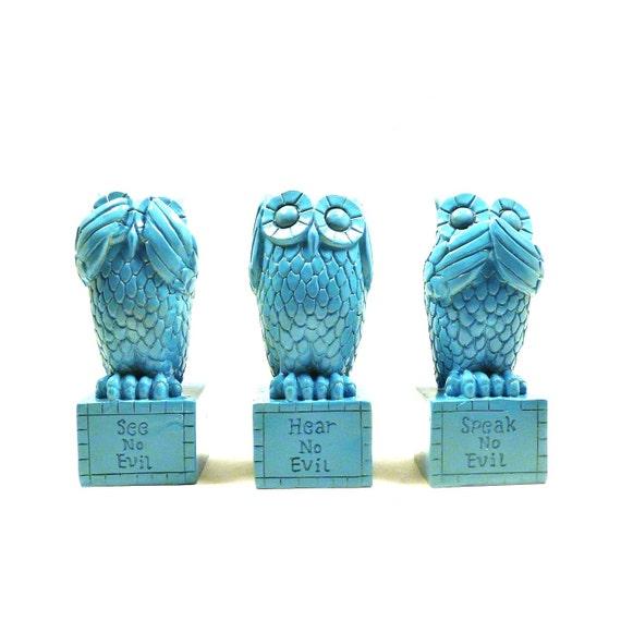Hear no evil owls speak no evil see no evil owl by nashpop on etsy - Hear no evil owls ceramic ...