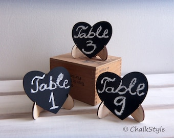 15 CHALKBOARDS with STAND Wedding Table Numbers Wedding Decor, Mini Heart Chalk Boards, Gift Tags, Favor Tags