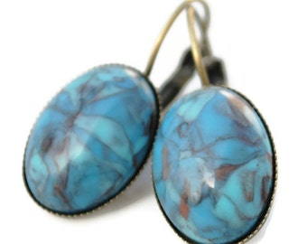 Shades of Blue Leverback Earring Antique Brass