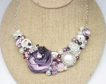 Plum Statement Necklace-Plum Bridal Bib-Purple Bib Necklace- Purple Floral Necklace- Plum Statement Necklace- Eggplant Bib-Plum floral Bib