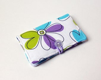 Flower Power Floral Fabric Business Card Holder, with Flower Power Dots - Credit Card Holder, Cloth Card Holder, Gift Card Holder