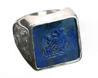 Lapis Ring Lion Family Crest Hand Carved Square Signet Sterling Silver 925