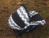 Grey Chevron Stripe black minky baby car seat cover infant seat cover slip cover Graco fit or evenflo