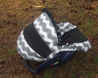 Grey Chevron Stripe black minky baby car seat cover infant seat cover slip cover Graco fit or evenflo universal