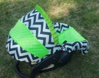 Navy Lime Chevron Stripe lime minky baby car seat cover infant seat cover slip cover Graco fit or evenflo universal baby trend