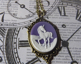 Unicorn Spring Summer Mothers Day  Cameo Bronze Necklace with Hearts valentine