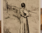 French pencil painting - The Farmer with a Rake. Russian art postcard. Made in USSR.