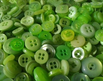 "200 Small Assorted Spring Green, Apple Green and Lime Green Sewing and Craft Buttons, sizes 1/4"" to 5/8"""