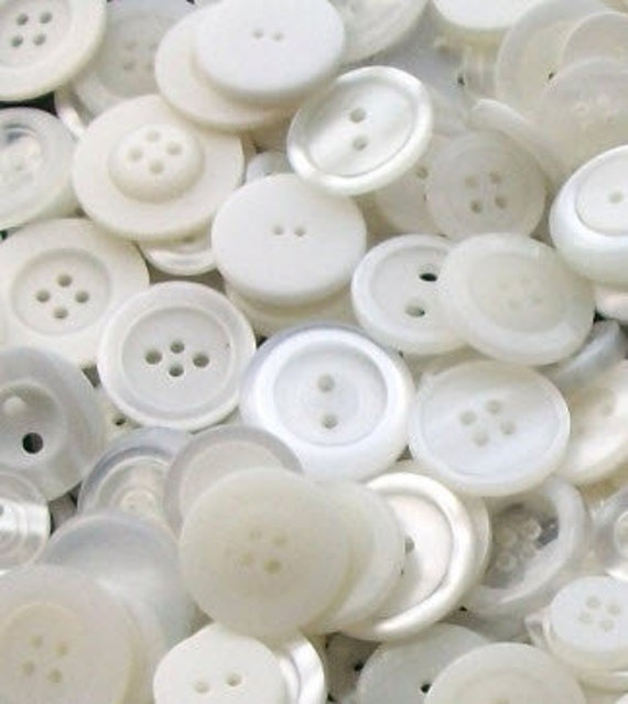 """100 Mixed White Buttons, White, Off White, Clear and Pearl White, multi sizes 1/8"""" up to 1-1/4"""""""