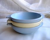 3 Boonton melamine melmac pastel colored large bowls - set of three from 1950s