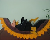 Crow on Sunflower, summertime, handpainted, wood