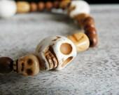 BRACELET // bois, os, turquoise // neutres, beige // bijoux ethniques, bracelets élastiques // livraison combinée gratuite