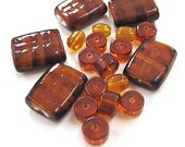 Caramel Amber Glass Bead Assortment Brown Lampwork Rectangles, Glass Rondelles, Ovals - RoughMagicals