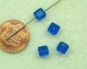 Crystal - 6mm faceted cube, Sapphire, Swarovski beads C297