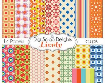 Lively Digital Scrapbook Paper in Aqua, Yellow, persimmon Orange, Green, Instant Download