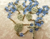 Rosary Our Lady of the Snows Perpetual Help Lourdes Miraculous Fatima Blue Glass Beads