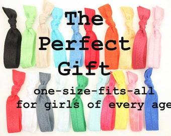 50 Hair Ties - Like EmiJay Ribbon Ties, Ponytails - Best Gift For Kids, Teens, Women, Moms, Friends, Sisters - Girl's Birthday Gift